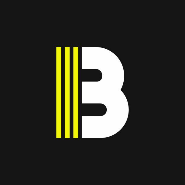 Yellow Lines Geometric Vector Logo Letter B vector art illustration