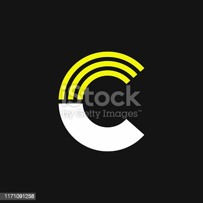 Modern Yellow Geometric Vector Logo Letter C. C Letter Design Vector