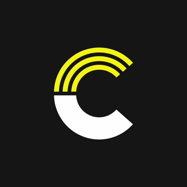 Yellow Lines Geometric Vector Logo Letter C vector art illustration