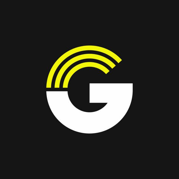 Yellow Lines Geometric Vector Logo Letter G vector art illustration
