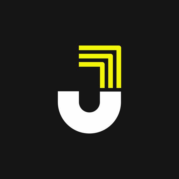 Yellow Lines Geometric Vector Logo Letter J Modern Yellow Geometric Vector Logo Letter J. J Letter Design Vector letter j stock illustrations