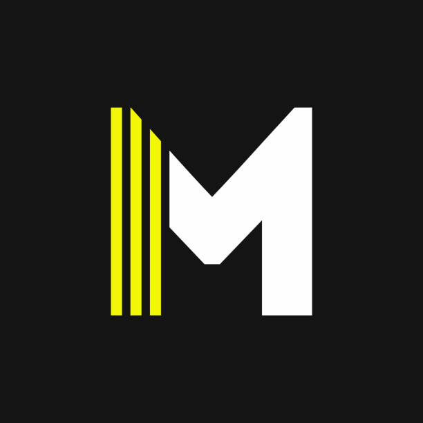 Yellow Lines Geometric Vector Logo Letter M vector art illustration