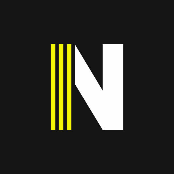 Yellow Lines Geometric Vector Logo Letter N vector art illustration
