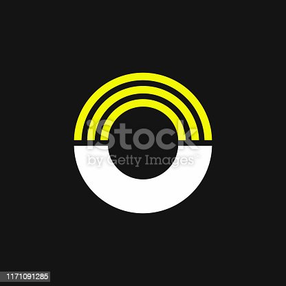 istock Yellow Lines Geometric Vector Logo Letter O 1171091285
