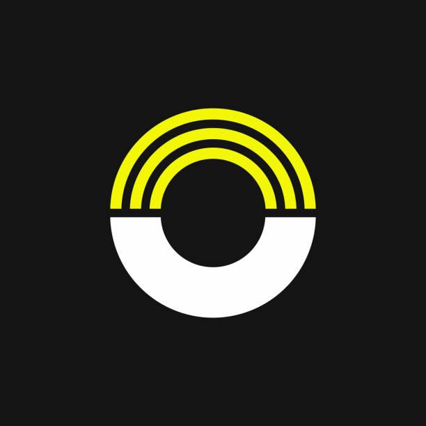 Yellow Lines Geometric Vector Logo Letter O vector art illustration