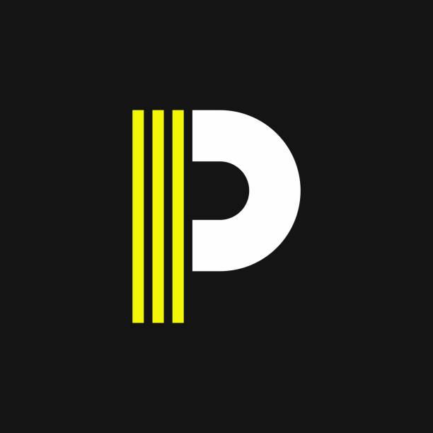 stockillustraties, clipart, cartoons en iconen met gele lijnen geometrische vector logo letter p - letter p