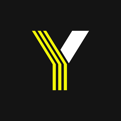 Yellow Lines Geometric Vector Logo Letter Y
