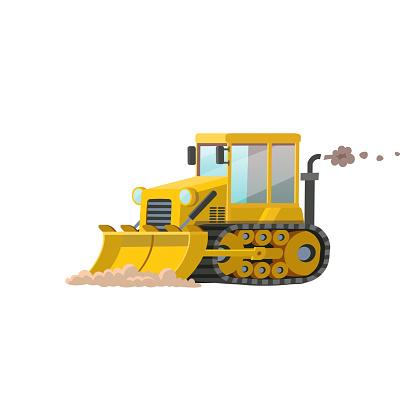 Yellow loader bulldozer isolated on white background. Construction machinery flat vector illustration.