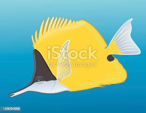 A Yellow Longnose Butterflyfish from the tropical sea. Aussi disponible / Also available in Illustrator CS2
