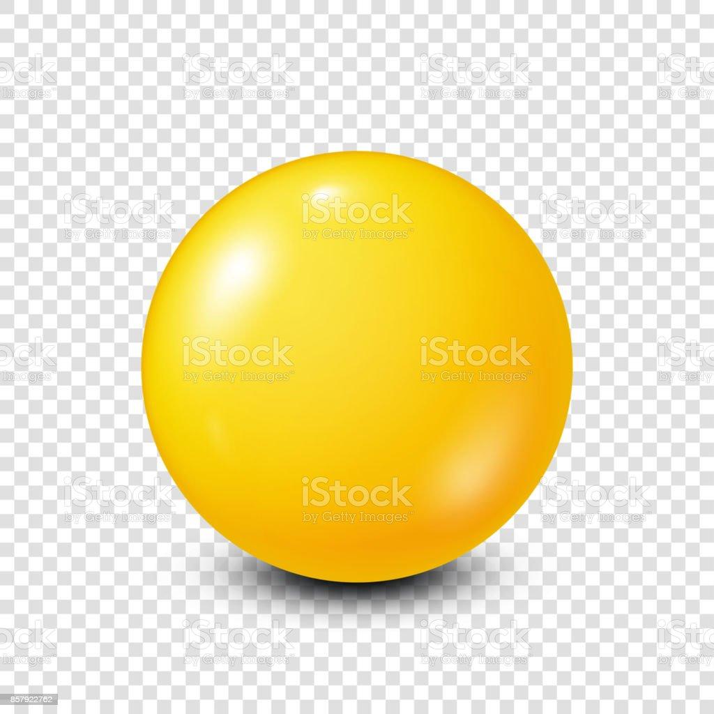 Yellow lottery, billiard,pool ball. Snooker. Transparent background. Vector illustration vector art illustration