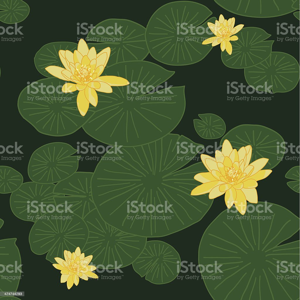 Yellow Lotuses or Lake Water Lilies. Seamless vector pattern. vector art illustration