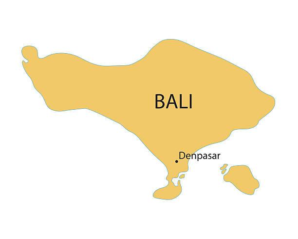 gelbe karte von bali - denpasar stock-grafiken, -clipart, -cartoons und -symbole