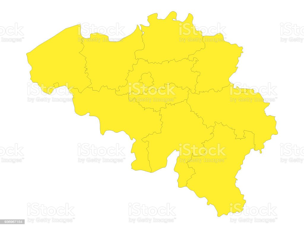 Yellow map of belgium with provinces stock vector art more images map world map belgium continent geographic area country geographic area gumiabroncs Gallery