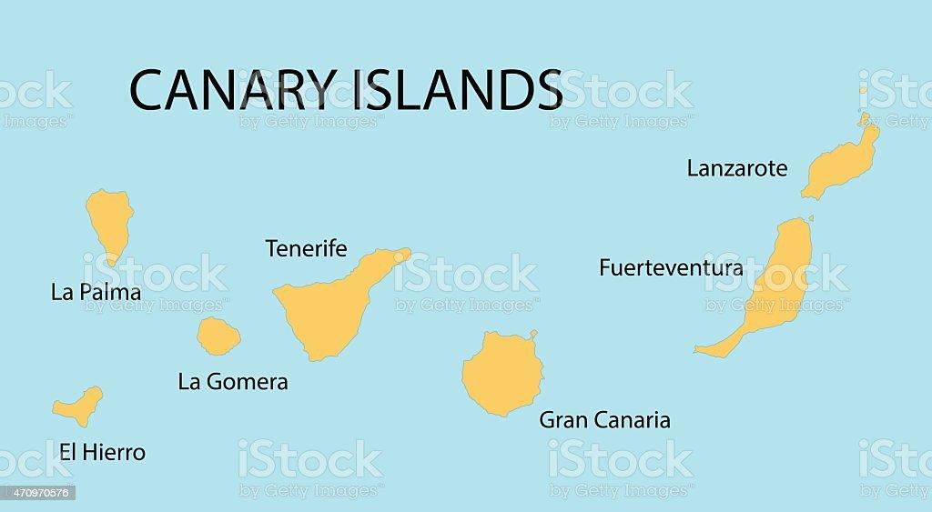 Kanaren Inseln Karte.Gelbe Karte Der Kanarischen Inseln Stock Vektor Art Und Mehr