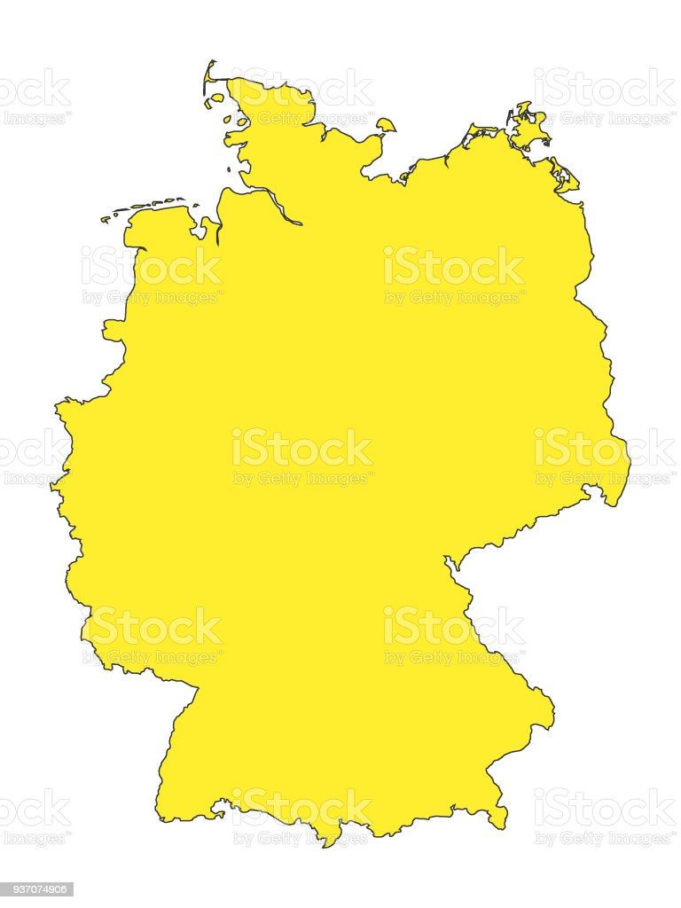 yellow map of germany stock vector art more images of backgrounds