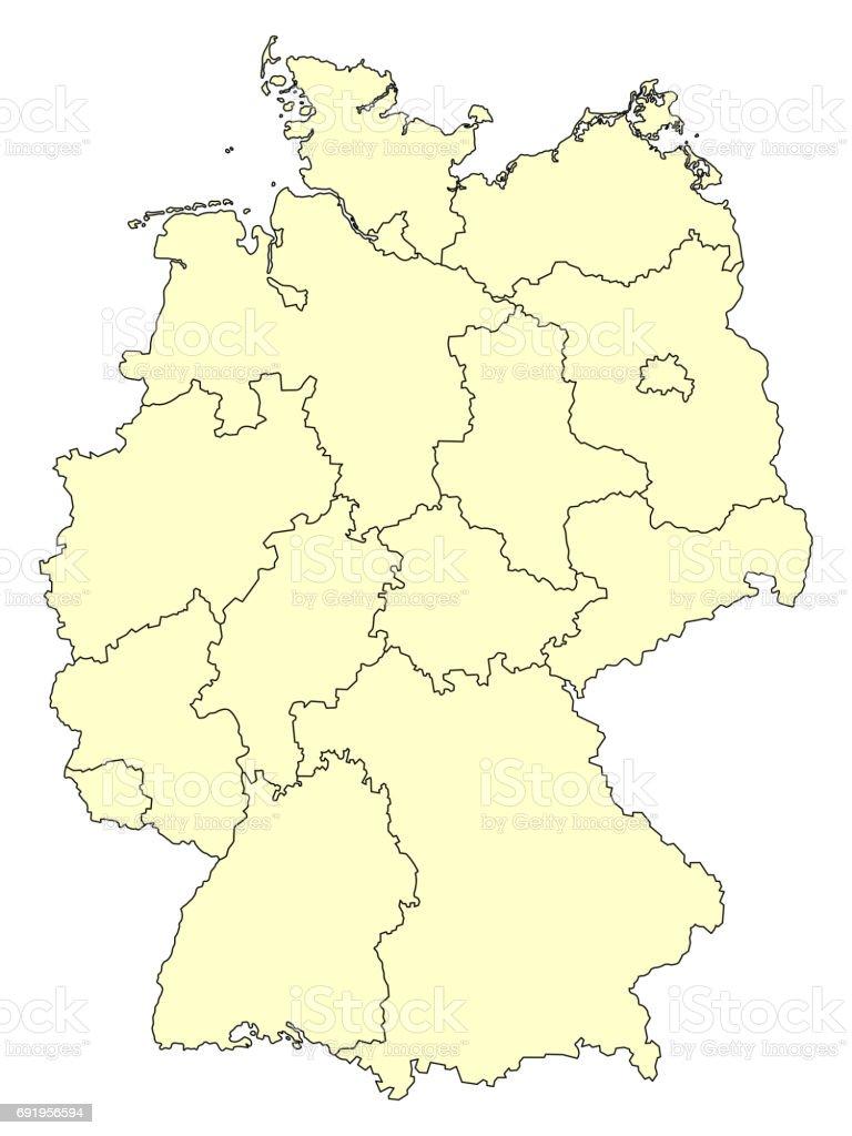 Karte Bundesländer.Gelbe Karte Von Deutschland Mit Grenzen Der Bundesländer Stock