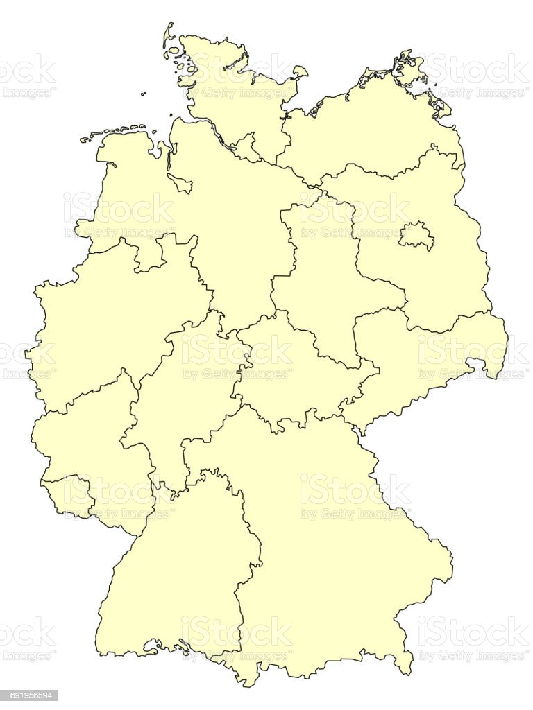 Yellow map of Germany with borders of the federal states vector art illustration