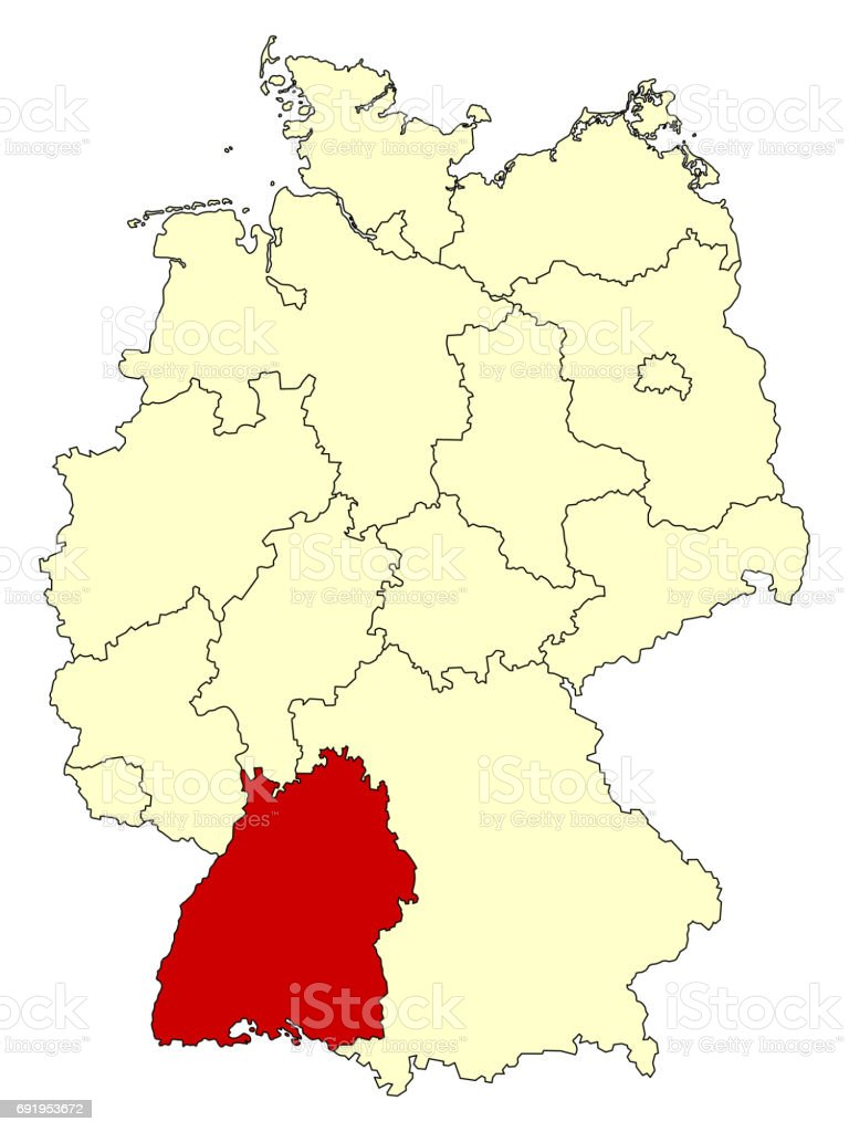 Yellow Map Of Germany With Federal State Badenwurttemberg Stock
