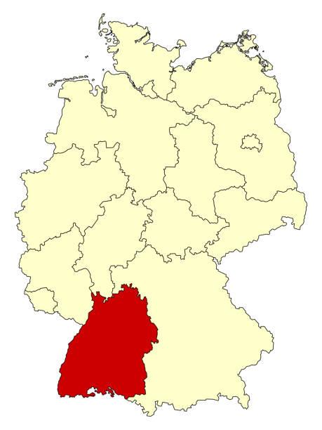 gelbe karte von deutschland mit bundesland baden-württemberg - schwarzwald stock-grafiken, -clipart, -cartoons und -symbole
