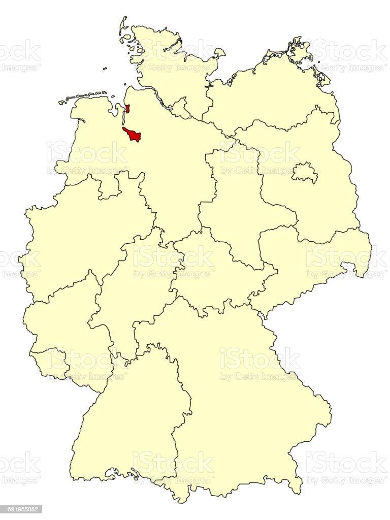 Bundesland Bremen Karte.Gelbe Karte Von Deutschland Mit Bundesland Bremen Stock Vektor Art