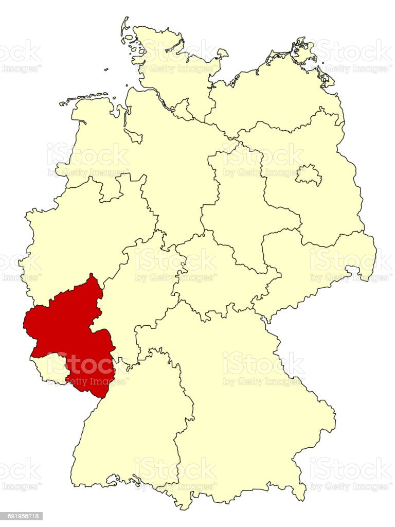Yellow Map Of Germany With Federal State Rhinelandpalatinate Stock