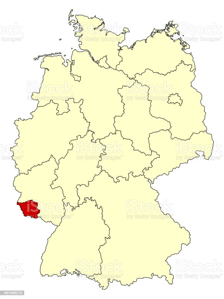 Saarbrucken Germany Map.Yellow Map Of Germany With Federal State Saarland Stock Vector Art