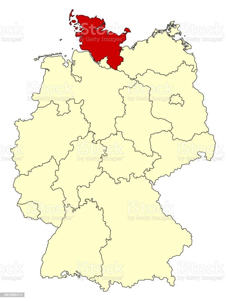 Gelbe Karte Von Deutschland Mit Bundesland Schleswigholstein Stock Vektor Art Und Mehr Bilder Von Bier Istock