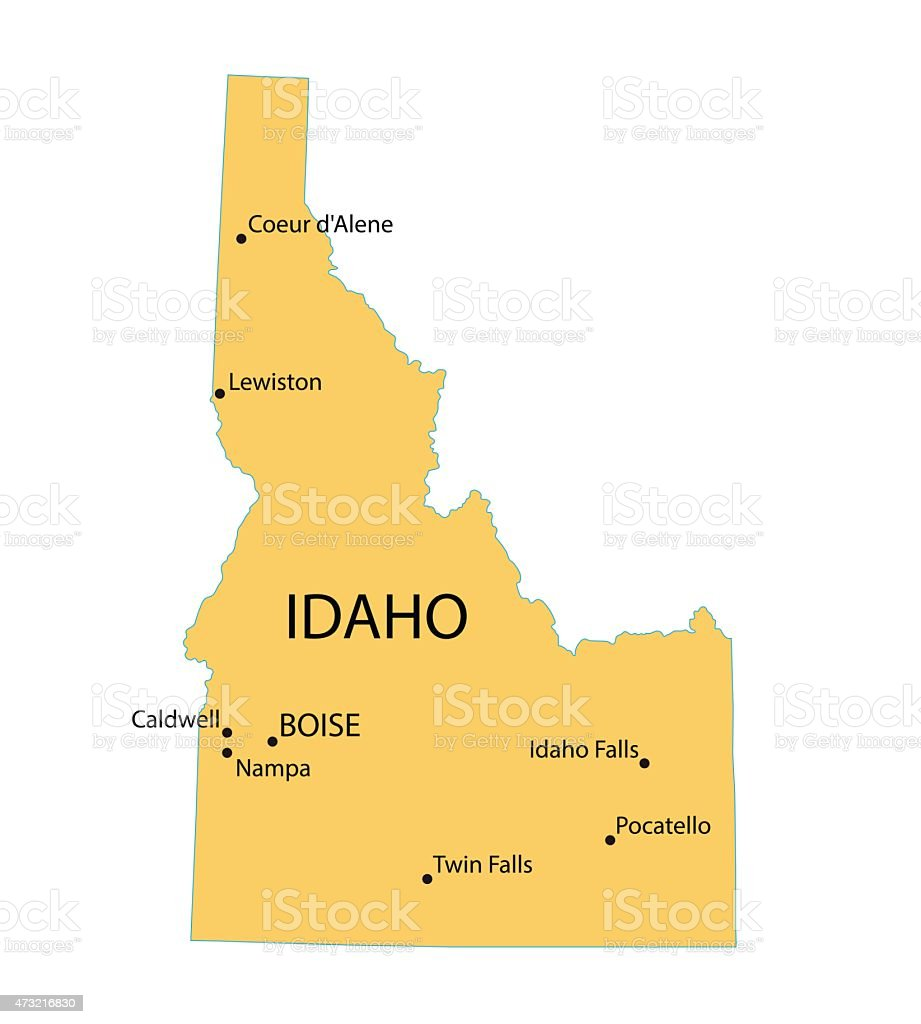 Yellow map of Idaho vector art illustration