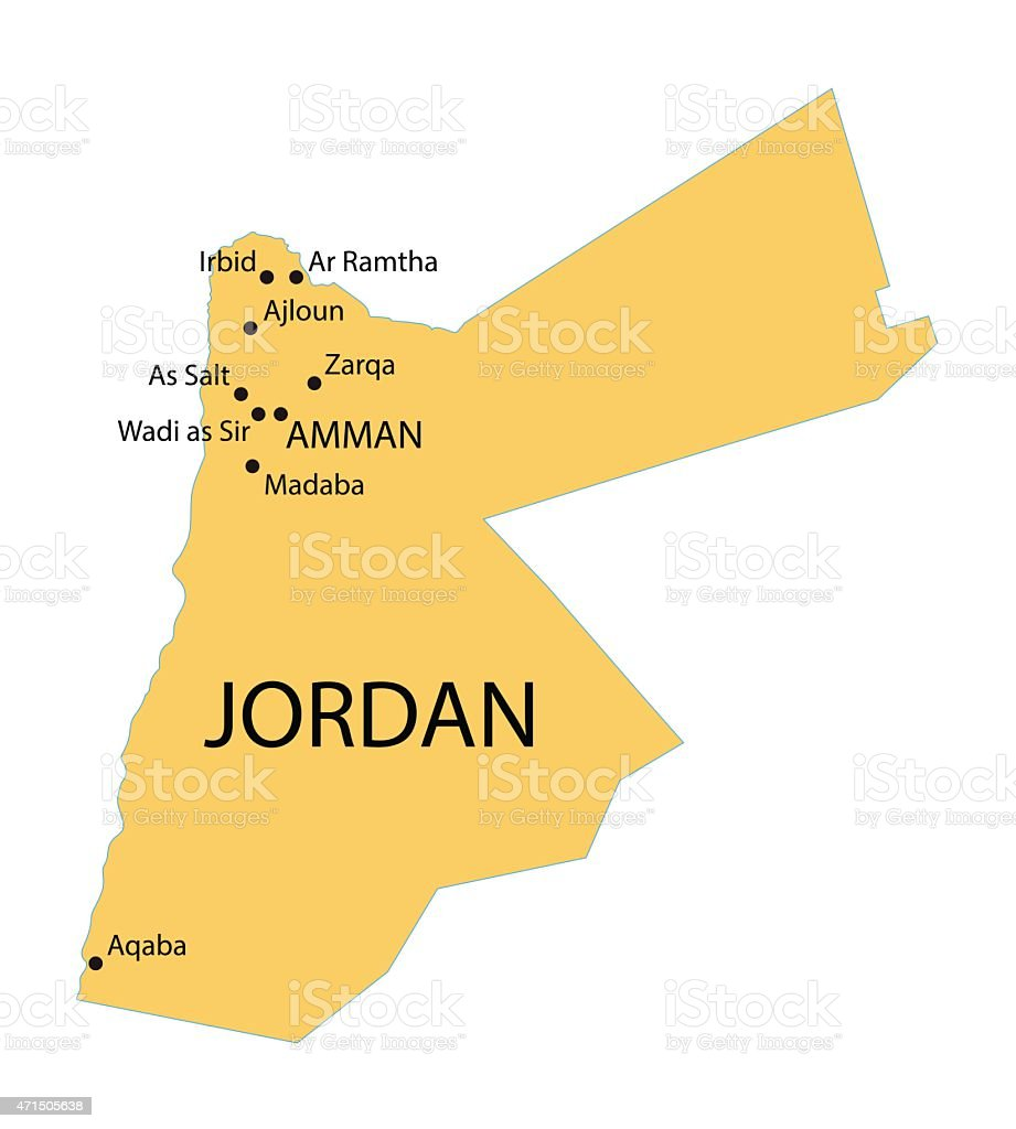 yellow map of Jordan vector art illustration