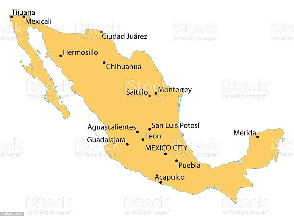 Yellow Map Of Mexico Stock Vector Art IStock - Mapa de mexico