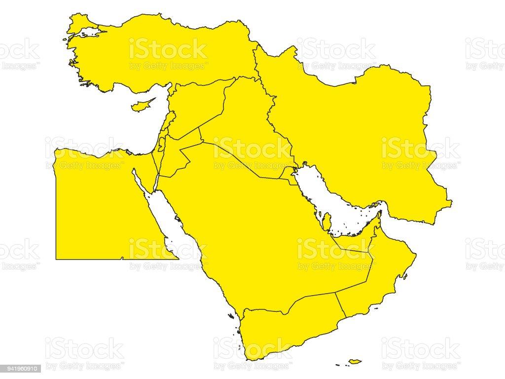 Picture of: Ilustracion De Amarillo Mapa Del Medio Oriente Y Mas Vectores Libres De Derechos De Amarillo Color Istock