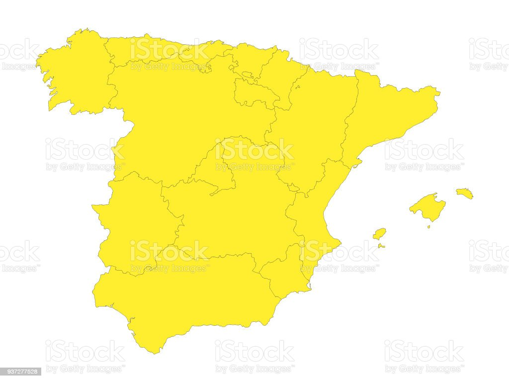 yellow map of spain with provinces stock vector art more images of