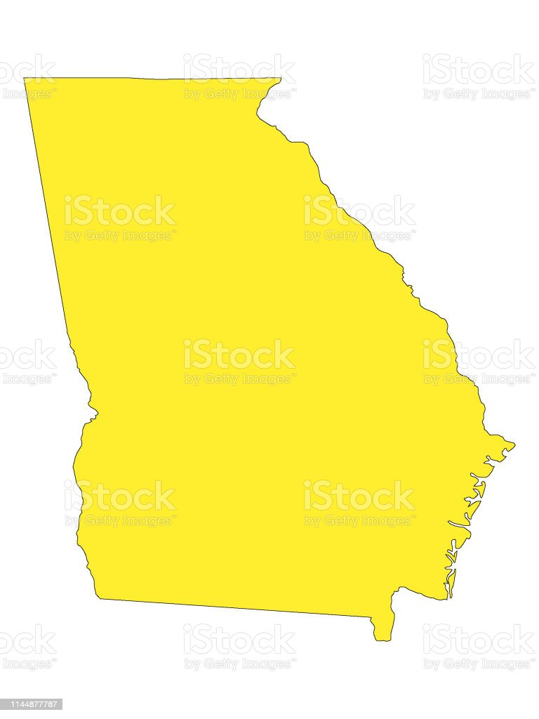 Us Map Of Georgia.Yellow Map Of Us State Of Georgia Stock Illustration Download
