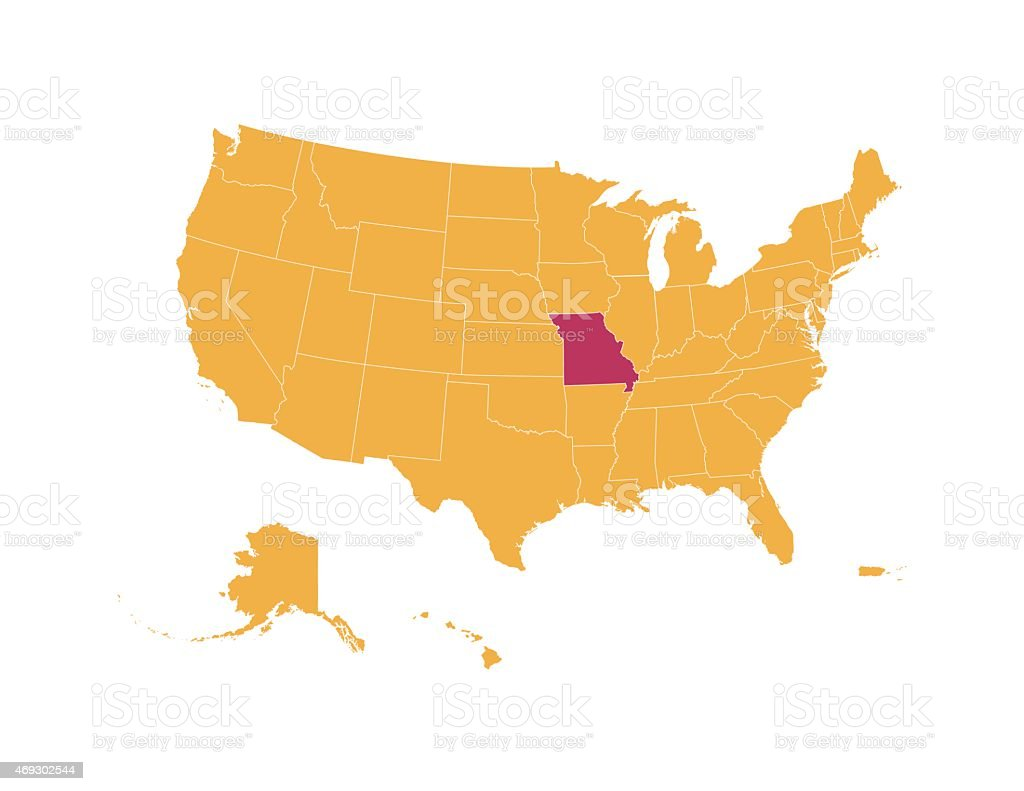 Yellow Map Of Usa With Missouri State Isolated In Red Stock Vector - Missouri usa map