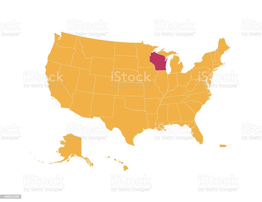 Yellow Map Of Usa With Wisconsin State Isolated In Red stock