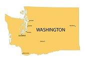 yellow map of Washington