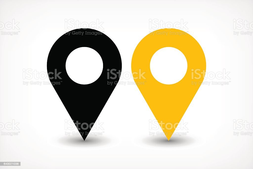 Yellow map pins sign icon in flat style vector art illustration