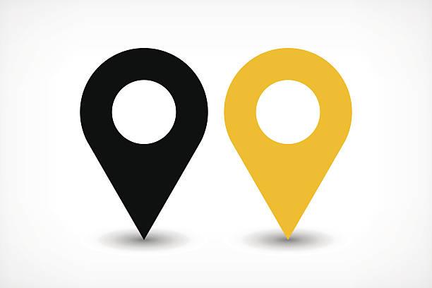 Yellow map pins sign icon in flat style – Vektorgrafik