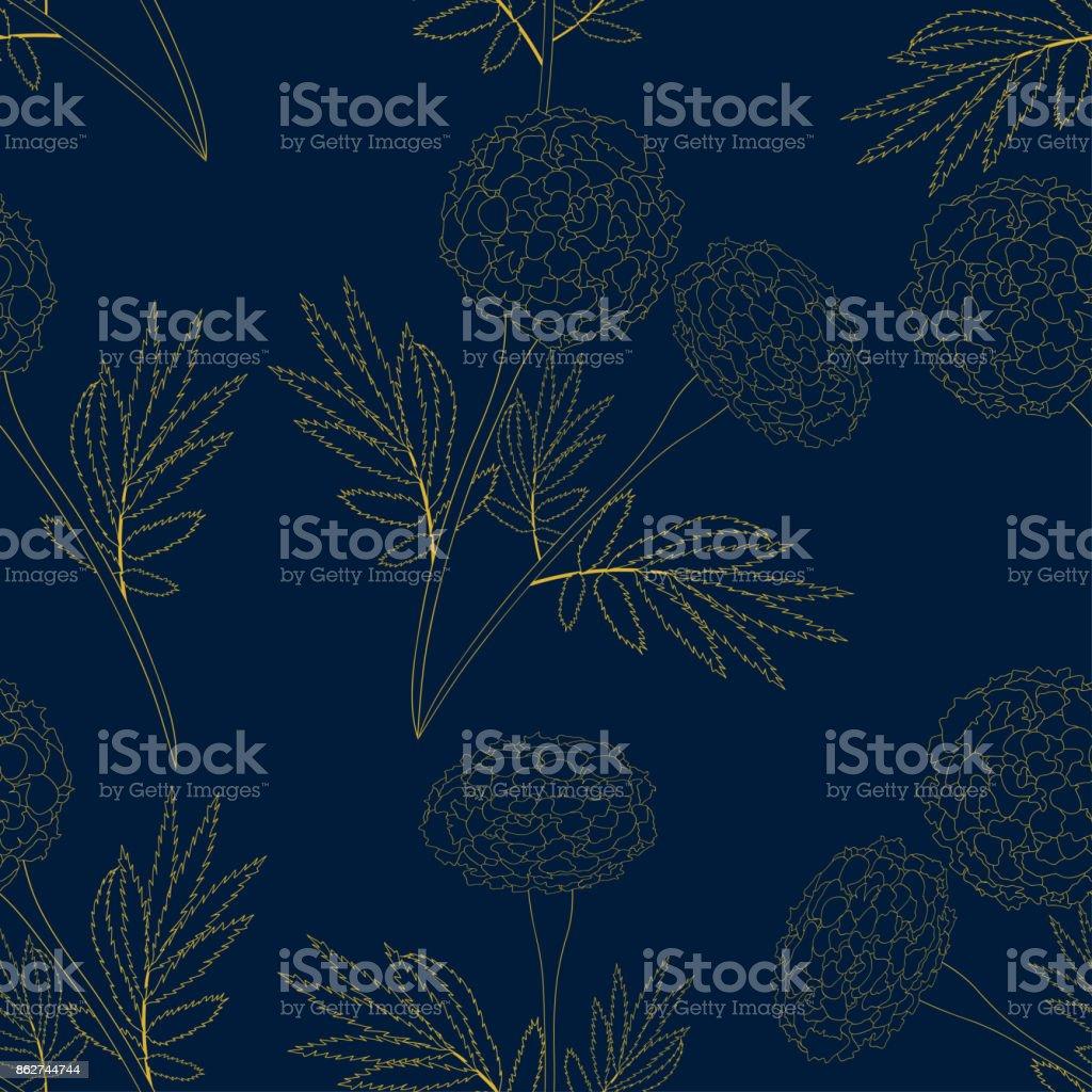 Yellow Marigold on Indigo Blue Background vector art illustration