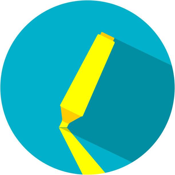gelbe marker für die textauswahl flach - filzarbeiten stock-grafiken, -clipart, -cartoons und -symbole