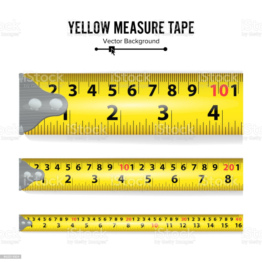 Yellow Measure Tape Vector. Centimeter And Inch. Measure Tool Equipment Illustration Isolated On White Background. Several Variants, Proportional Scaled vector art illustration