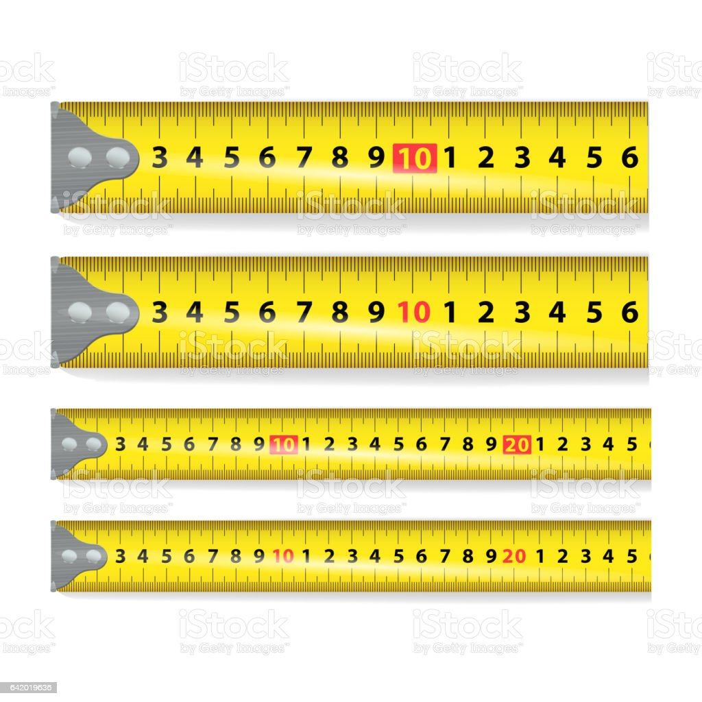 Yellow Measure Tape Vector. Measure Tool Equipment In Centimeters. Several Variants, Proportional Scaled vector art illustration