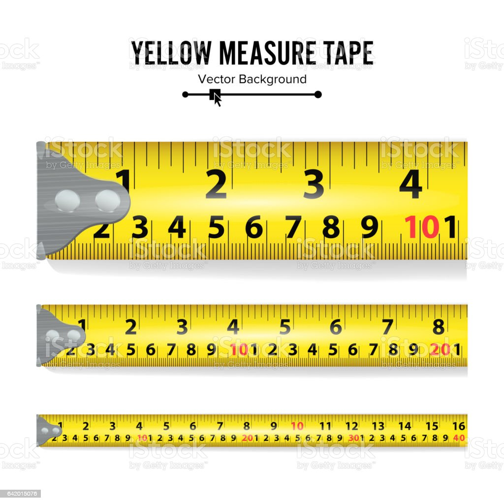 Yellow Measure Tape Vector. Measure Tool Equipment In Inches. Several Variants, Proportional Scaled vector art illustration