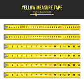 Yellow Measure Tape Vector. Measure Tool Equipment In Inches. Several Variants, Proportional Scaled