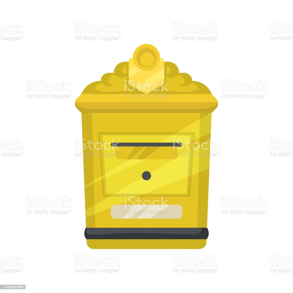 Yellow Metal Mailbox For Letters And Newspapers Small Wall Mounted ...