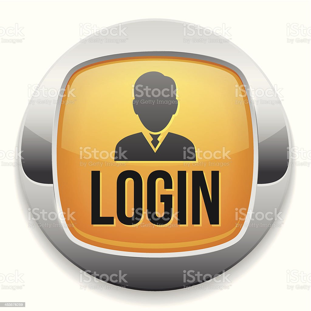 Yellow metallic login button royalty-free stock vector art