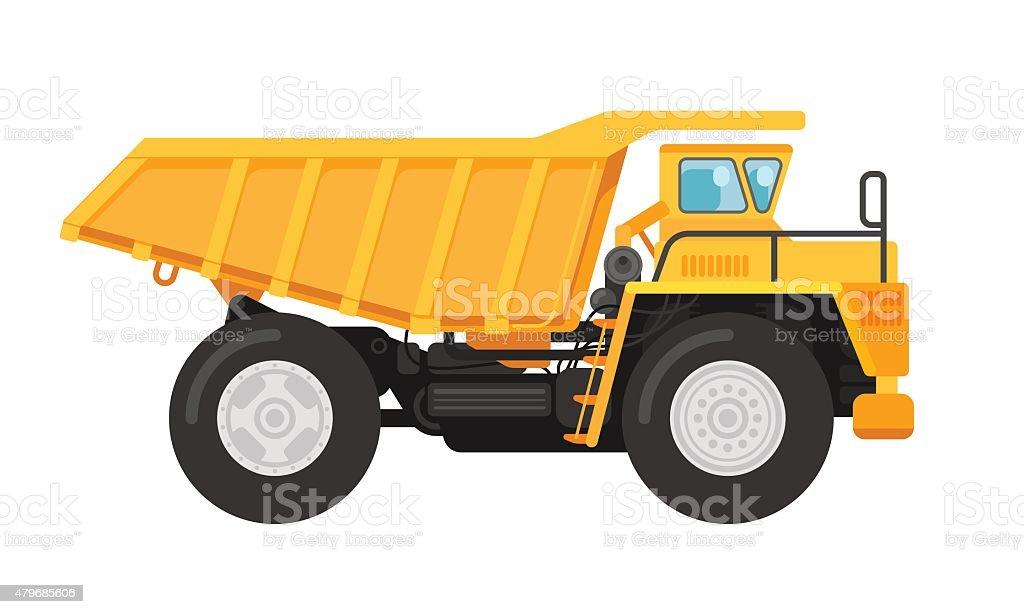 Yellow mining dump truck tipper illustration vector art illustration