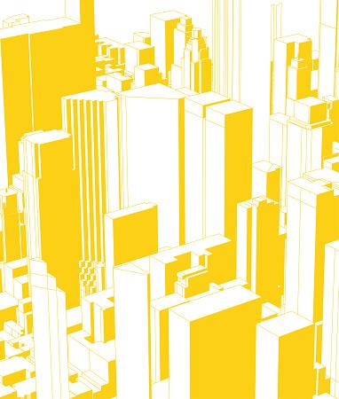 yellow modern city building skyline illustration poster background