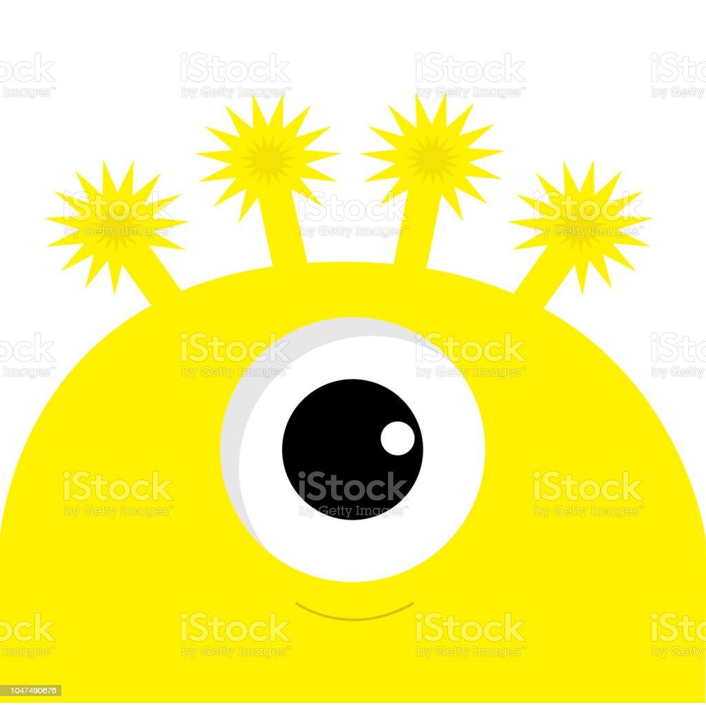 Gelbe Karte Lustig.Gelbe Monster Kopf Mit Einem Auge Lustige Niedlichen Cartoon