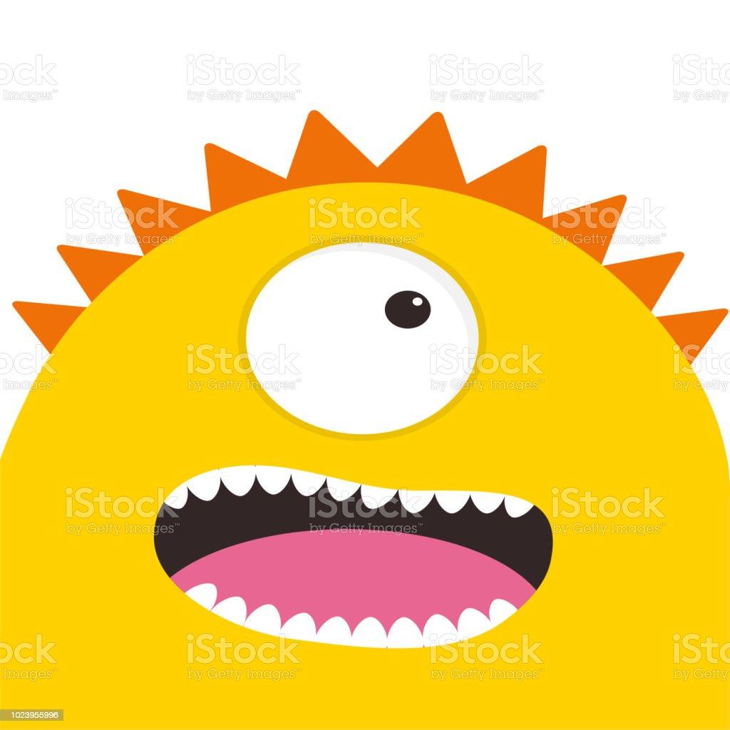 Gelbe Karte Lustig.Gelbe Monster Kopf Mit Einem Auge Zähne Zunge Lustige Niedlichen